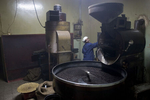 Coffee roasting in the TO.MO.CA Cafeteria back shop in November 2004