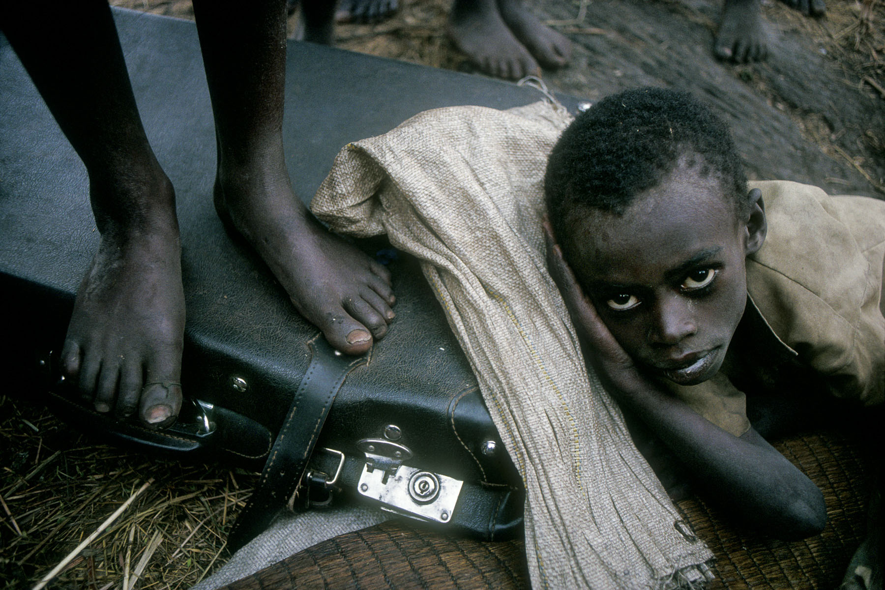 Rwandan Hutu orphans in the refugee camp of Kibumba in August 1994
