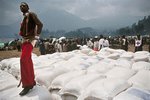 Food distribution in the Rwandan Hutu refugee camp of Kibumba in August 1994