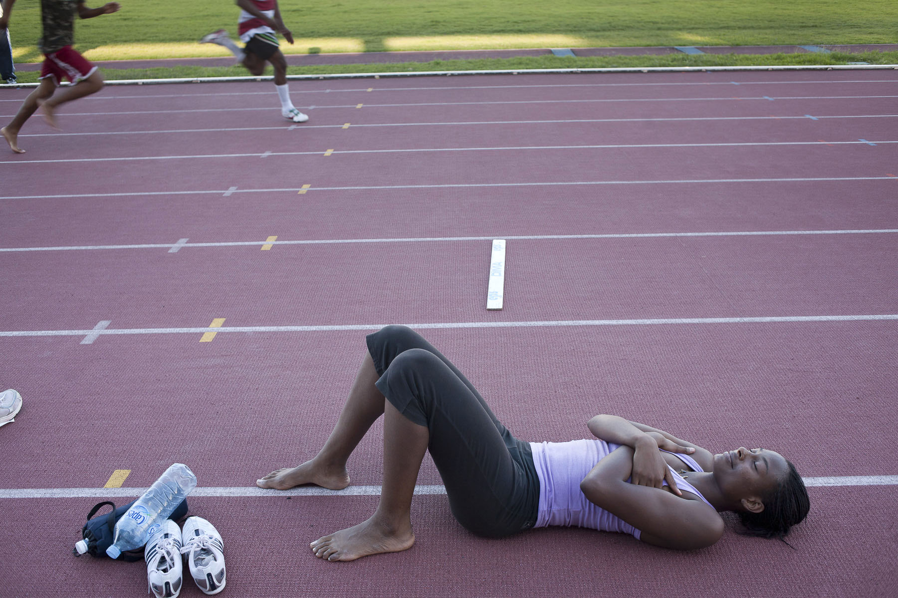 Young woman at athletics practice on February 2009