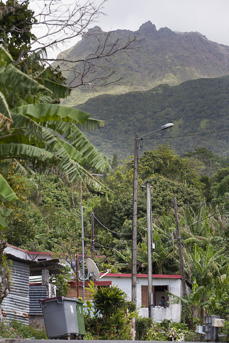 Houses by the La Soufriere volcano on March 2009