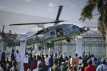 A US helicopter landing on the National Palace lawn on January 19, 2010