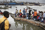 In the harbour, homeless people leaving for the countryside on January 19, 2010