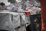 Homeless camp in Petion-Ville Golf Club after the rain on March 19, 2010