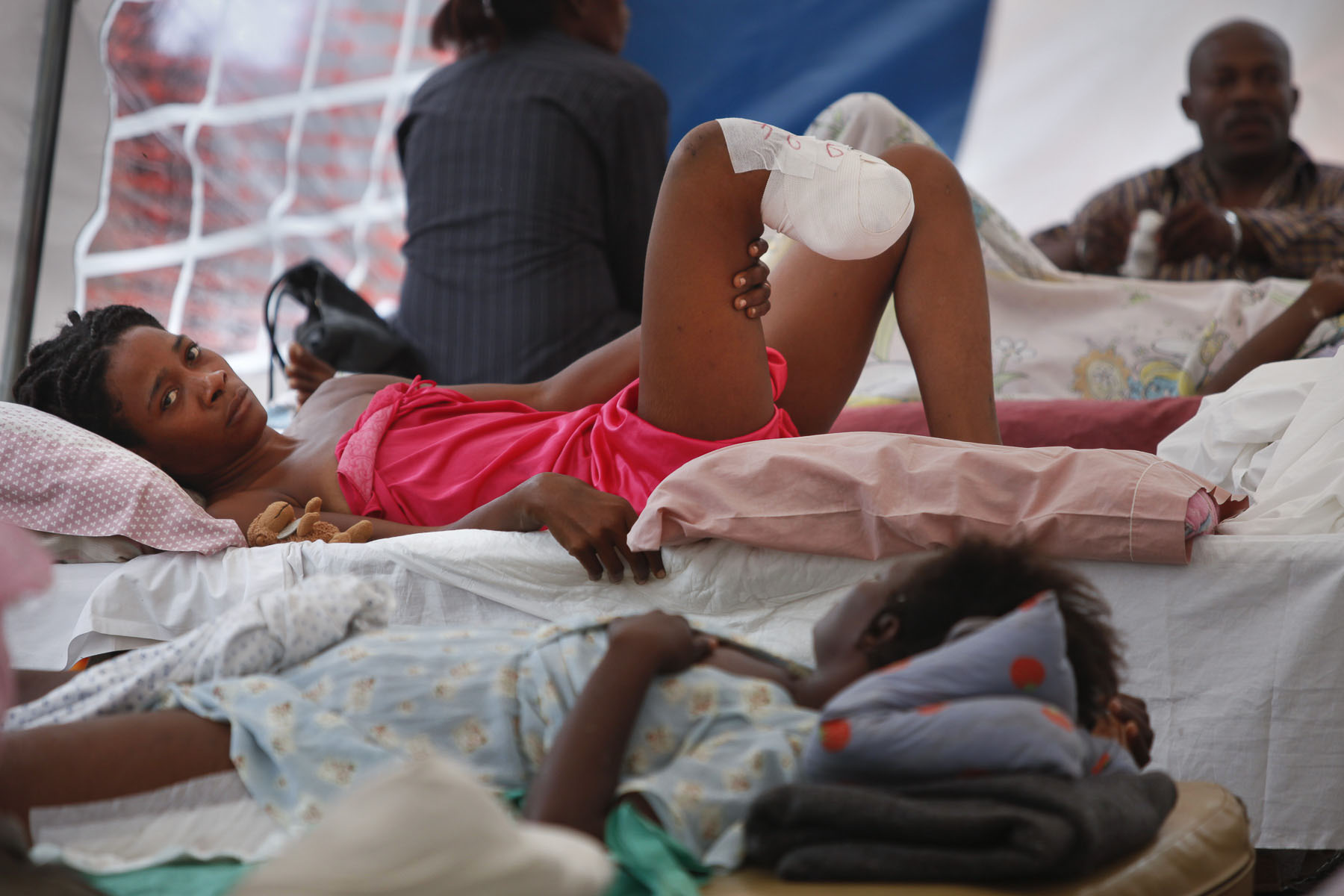 Young amputee under a tent of the Lambert clinic in Petion-Ville on January 26, 2010