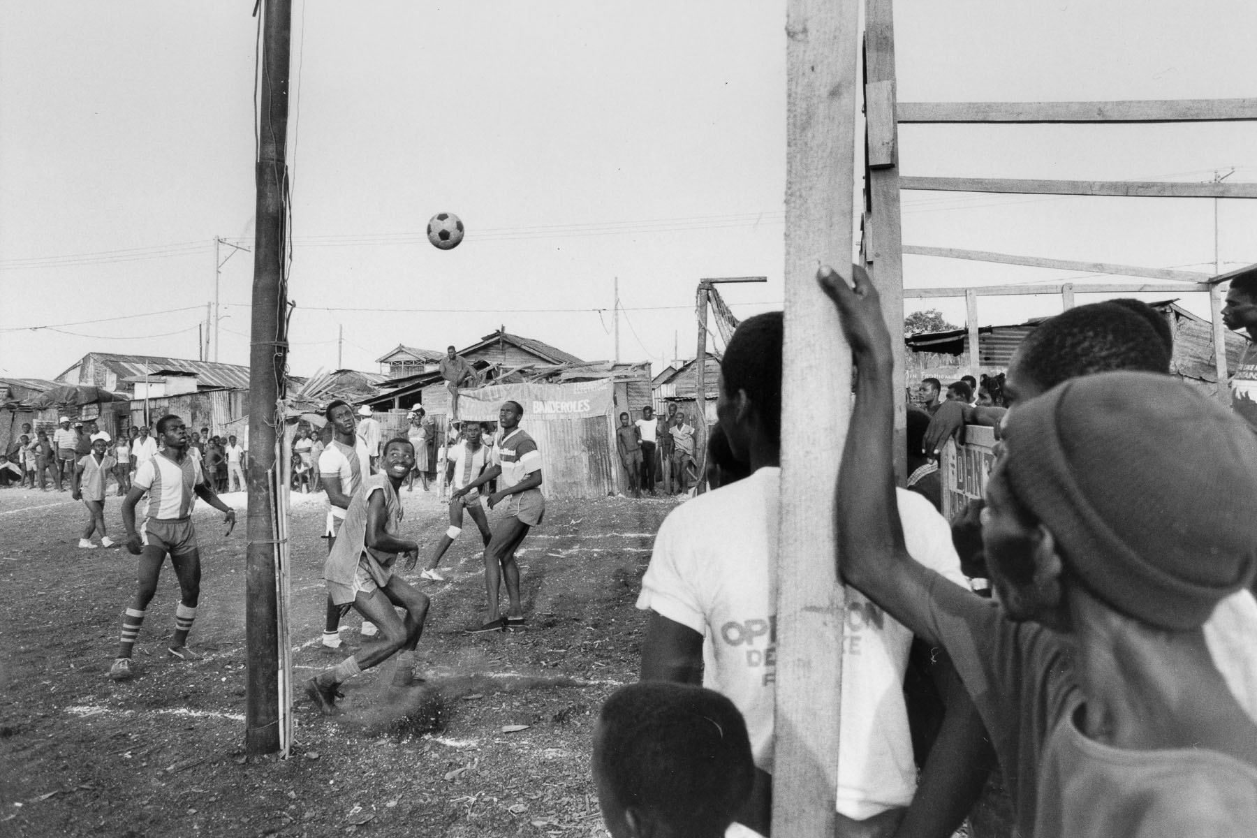 Football match in the shantytown of La Saline in August 1986