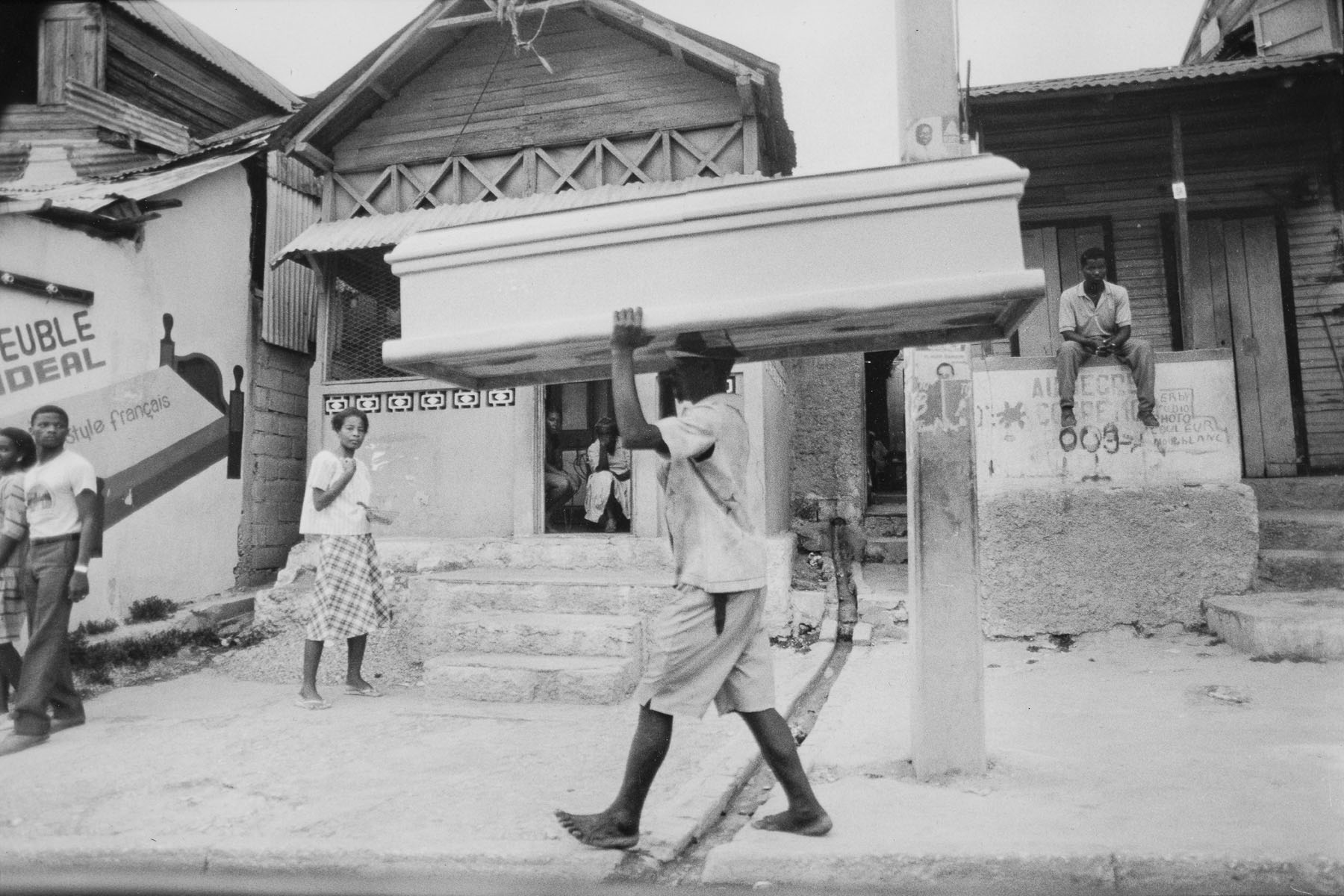 Coffin delivery man in Port-au-Prince in August 1986