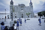 Pupils on the cathedral square in Cap-Haitien in October 2003
