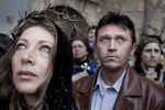 A Russian Orthodox couple arriving in front of the Holy Sepulchre after the Way of the Cross procession on Good Friday in April 2009