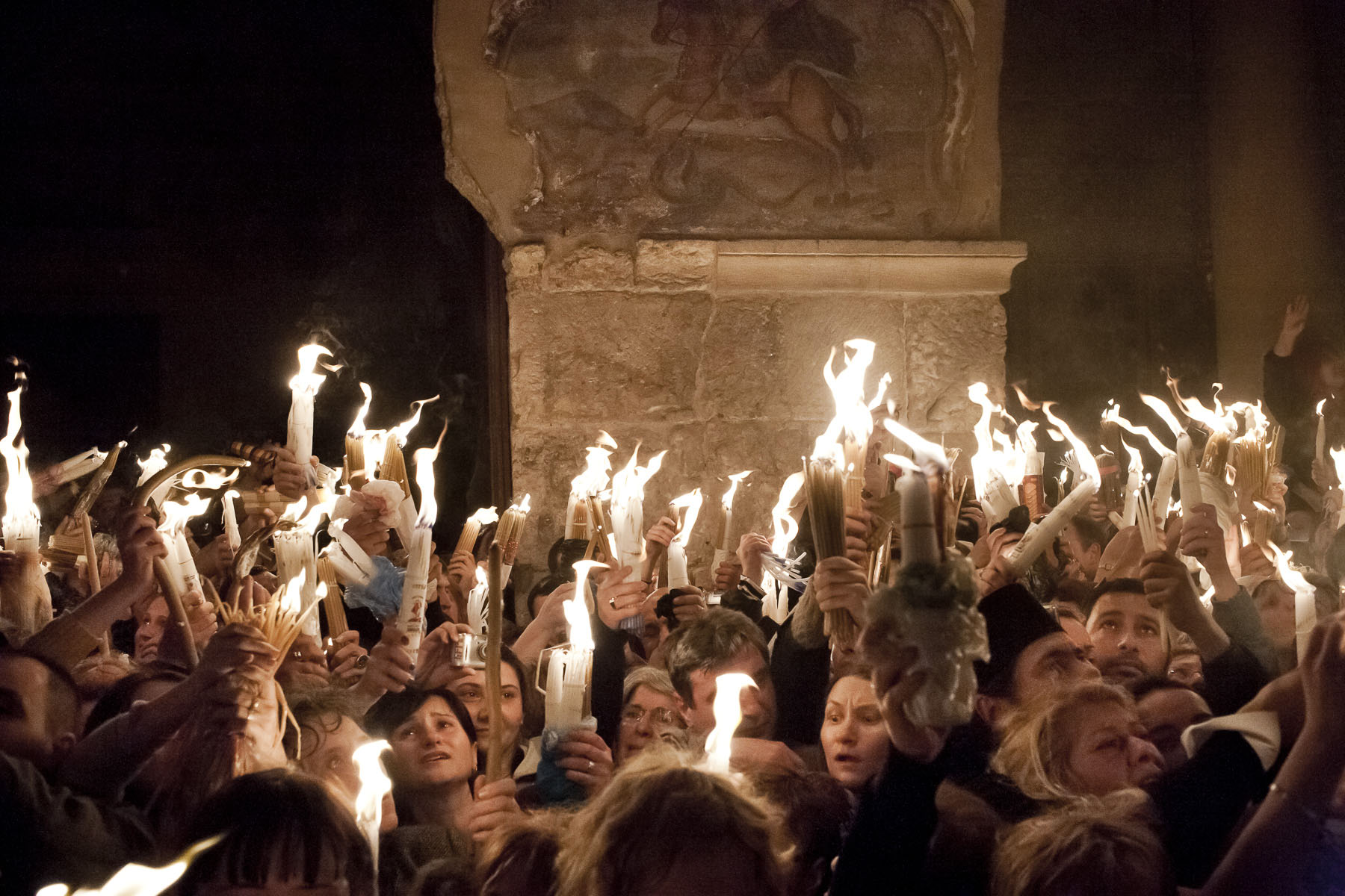 The Holy Fire ceremony on Orthodox Easter Saturday in April 2009