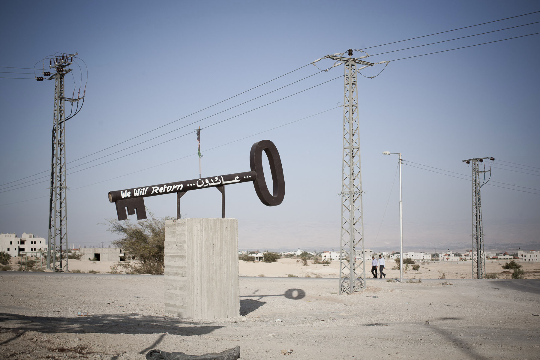 At the entrance of the Palestinian autonomous territory city, a monument representing a gigantic key symbolizing the Palestinian People's hope of return in October 2009