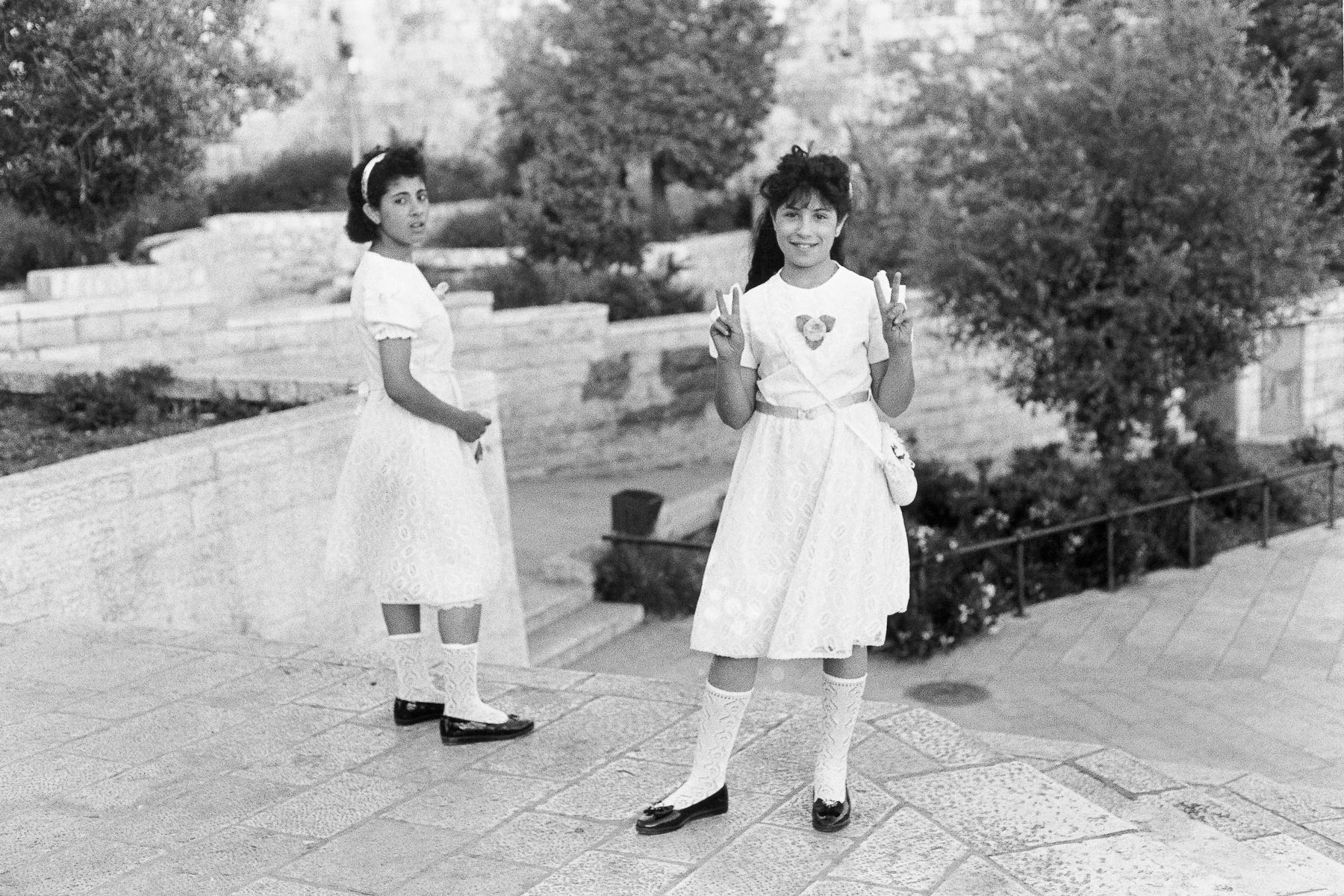 Two Palestinian girls at the Damascus Gate in June 1989