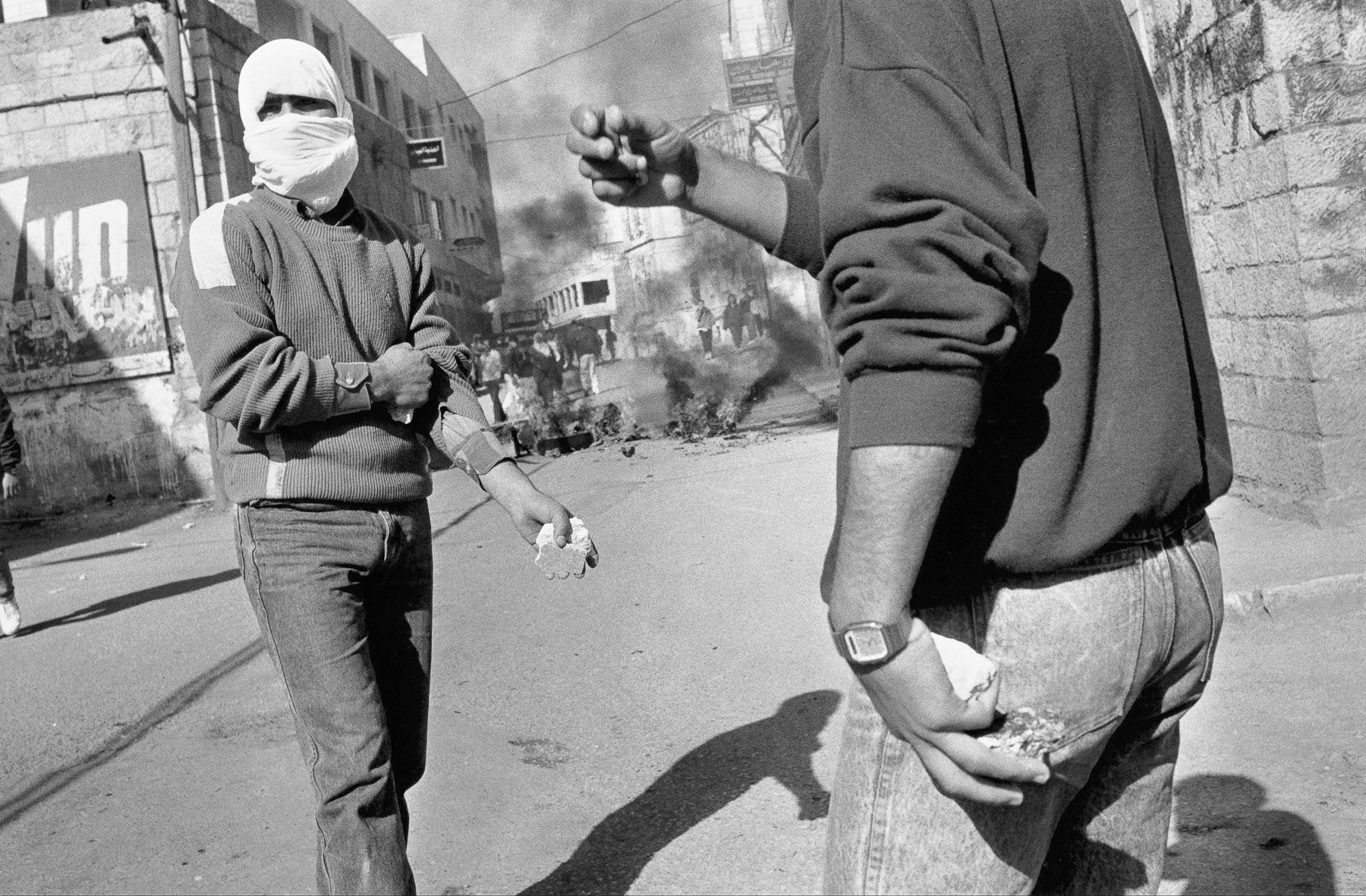 Young Palestinians throwing stones during a demonstration in December 1988