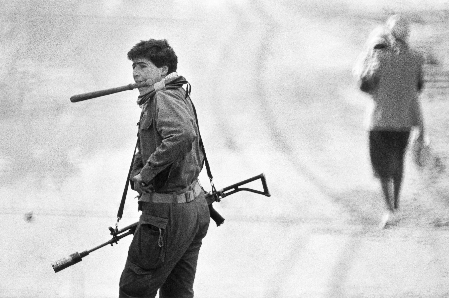Israelian soldier in Al-Amari camp in January 1988