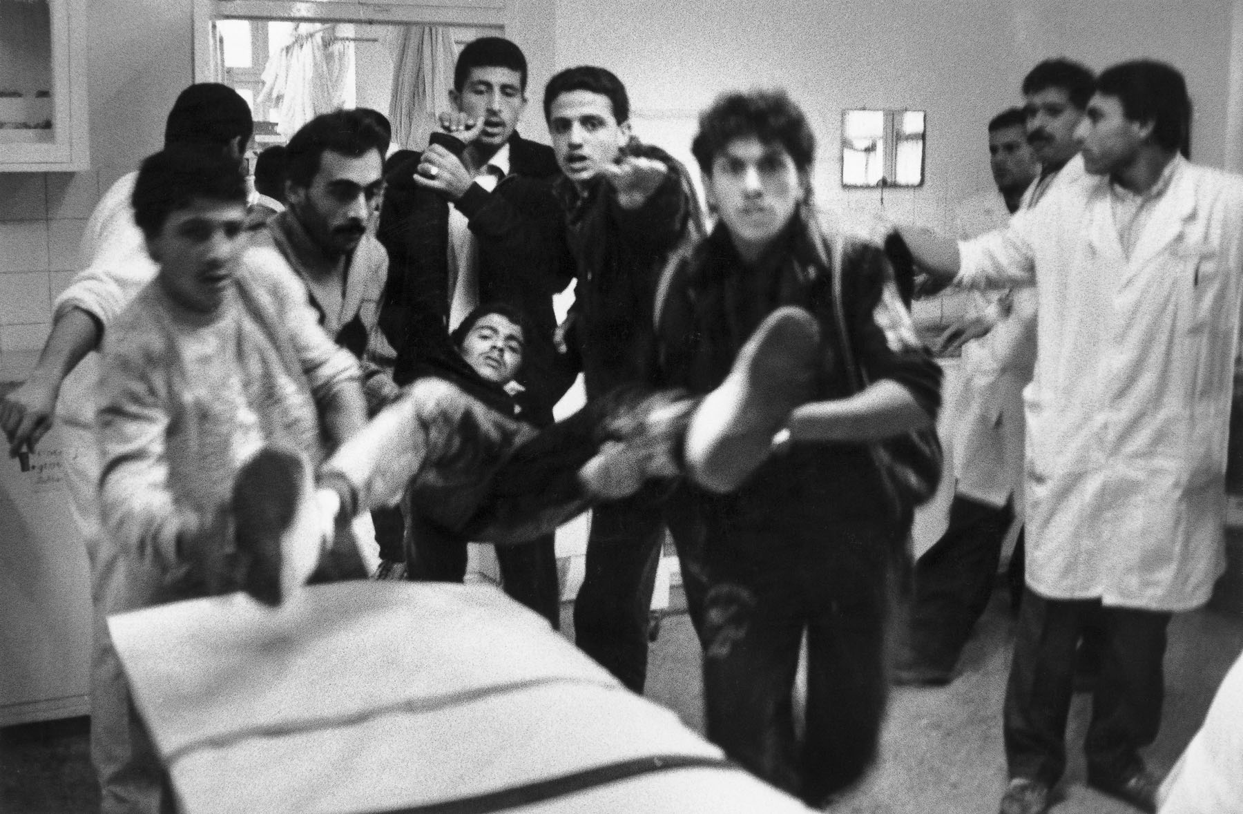 Ahli Arab hospital, young Palestinian wounded during a demonstration in December 1988