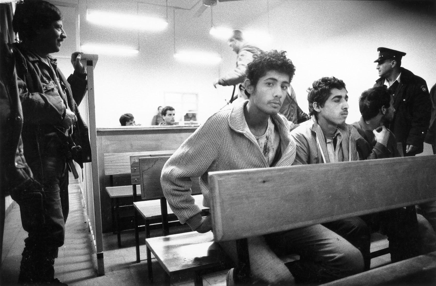 Young Palestinians in an Israelian military court in December 1987
