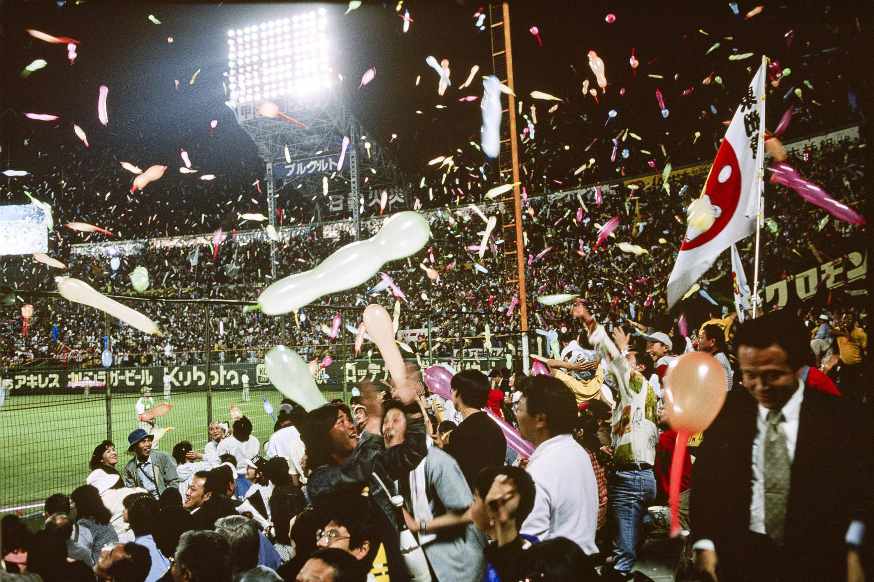 Base-ball match at the Hanshin Tigers stadium in May 1999