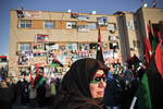 Libyan women demonstrate on the new Tahrir Square (Liberty Square) of Benghazi in April 2011