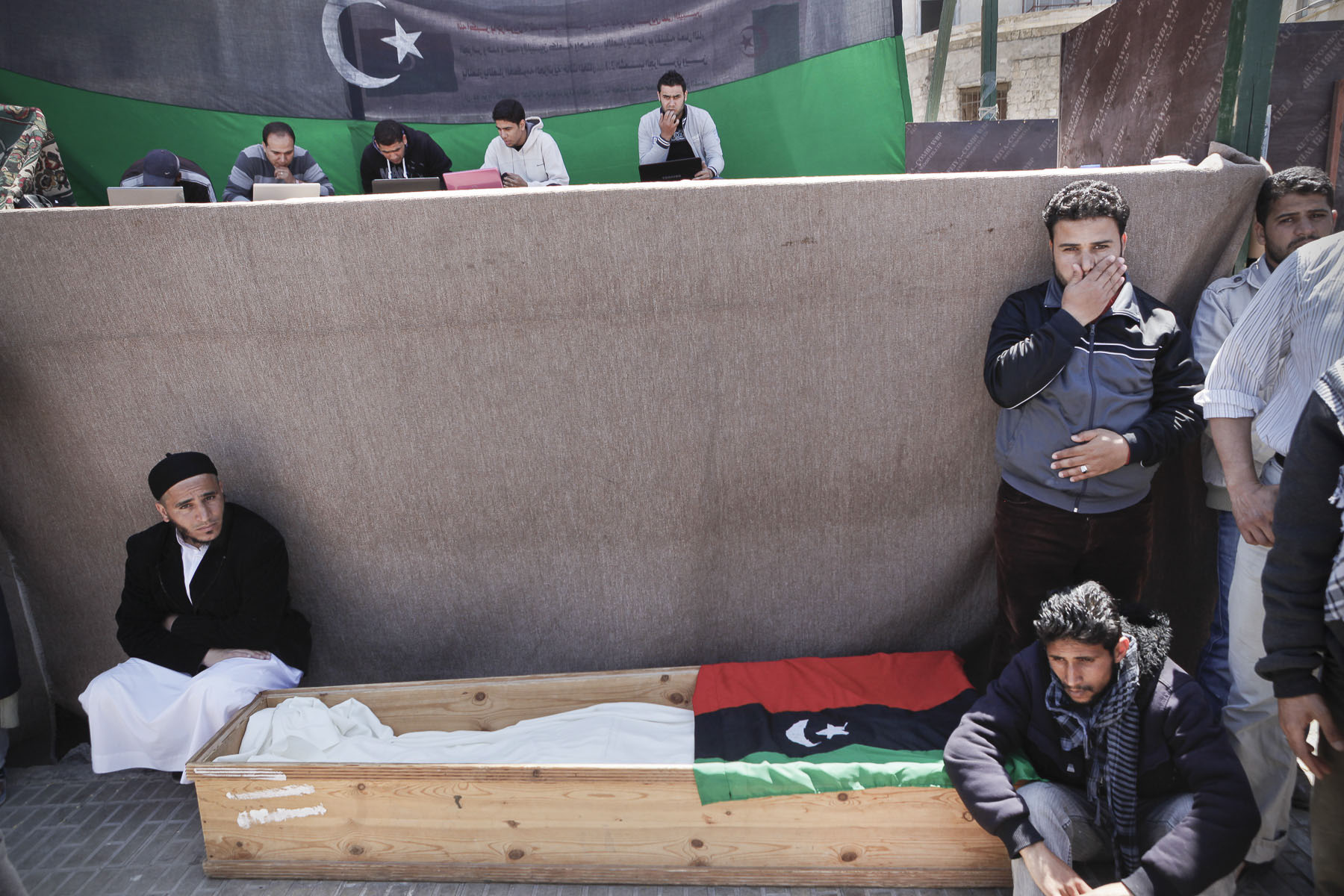 A coffins of a anti-Kadhafi fighter on the new Tahrir Square (Liberty Square) of Benghazi in April 2011