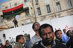 Libyan men demonstrate on the new Tahrir Square (Liberty Square) of Benghazi in April 2011