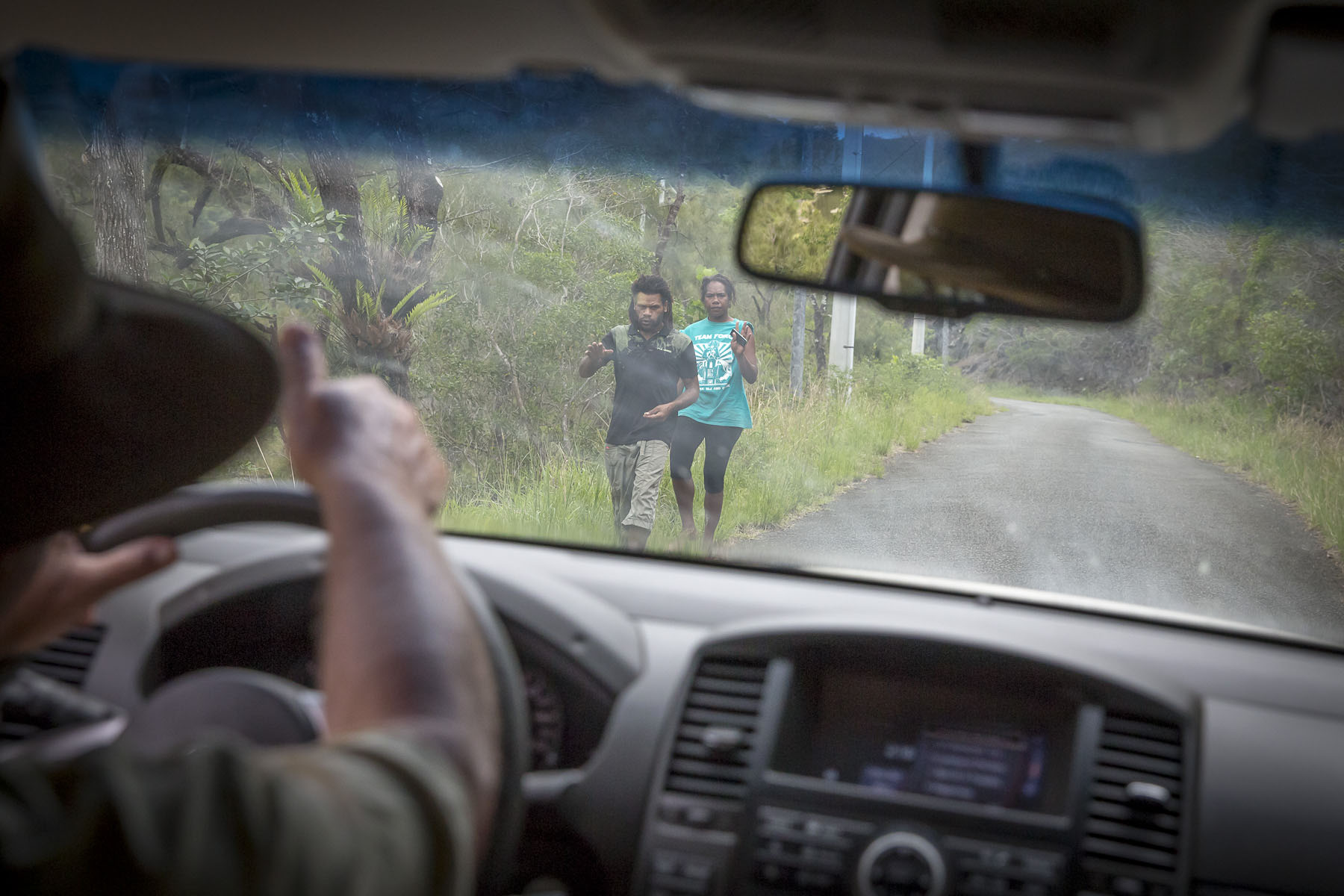 In the car of Claude Metzdorf, cattle farmer, going to the Kanak tribe of Monfaoué, November 2017