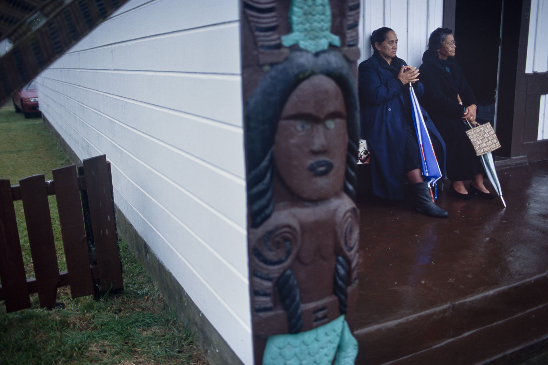 Maori women during a welcoming ceremony before a funeral at the marae, traditional meeting place in May 2000