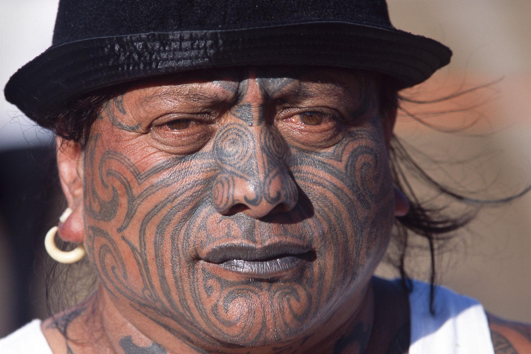 Tame Iti, a radical Maori activist shows his real moko, a full facial traditional tattoo during a Maori culture folk arts festival in May 2000