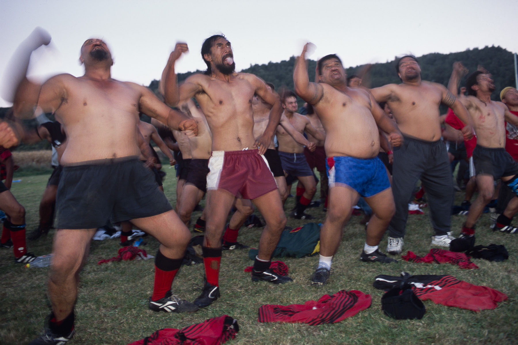 Maoris rugbymen perform haka, a traditional Maori war dance, after a rugby game in May 2000