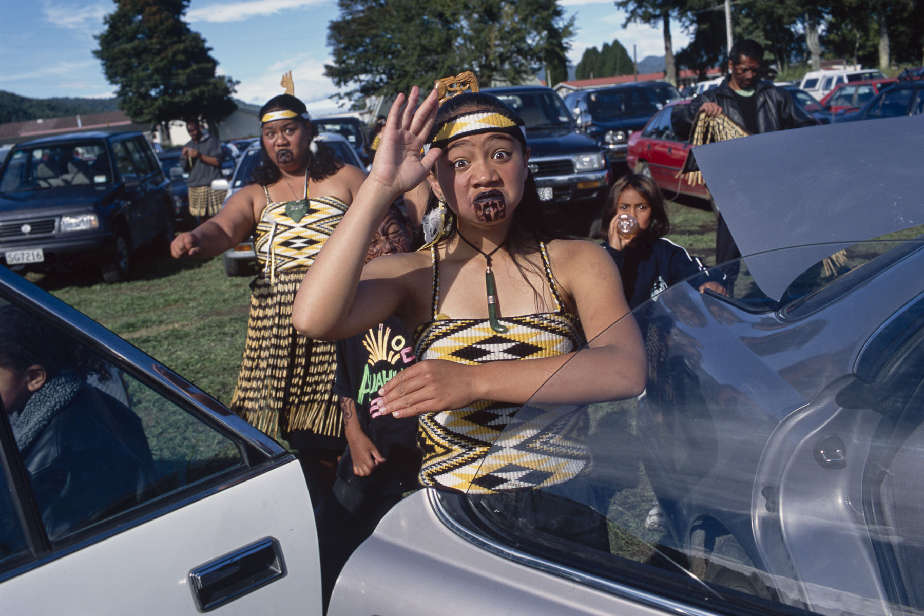 A Maori haka performer attends a culture folk arts festival in May 2000