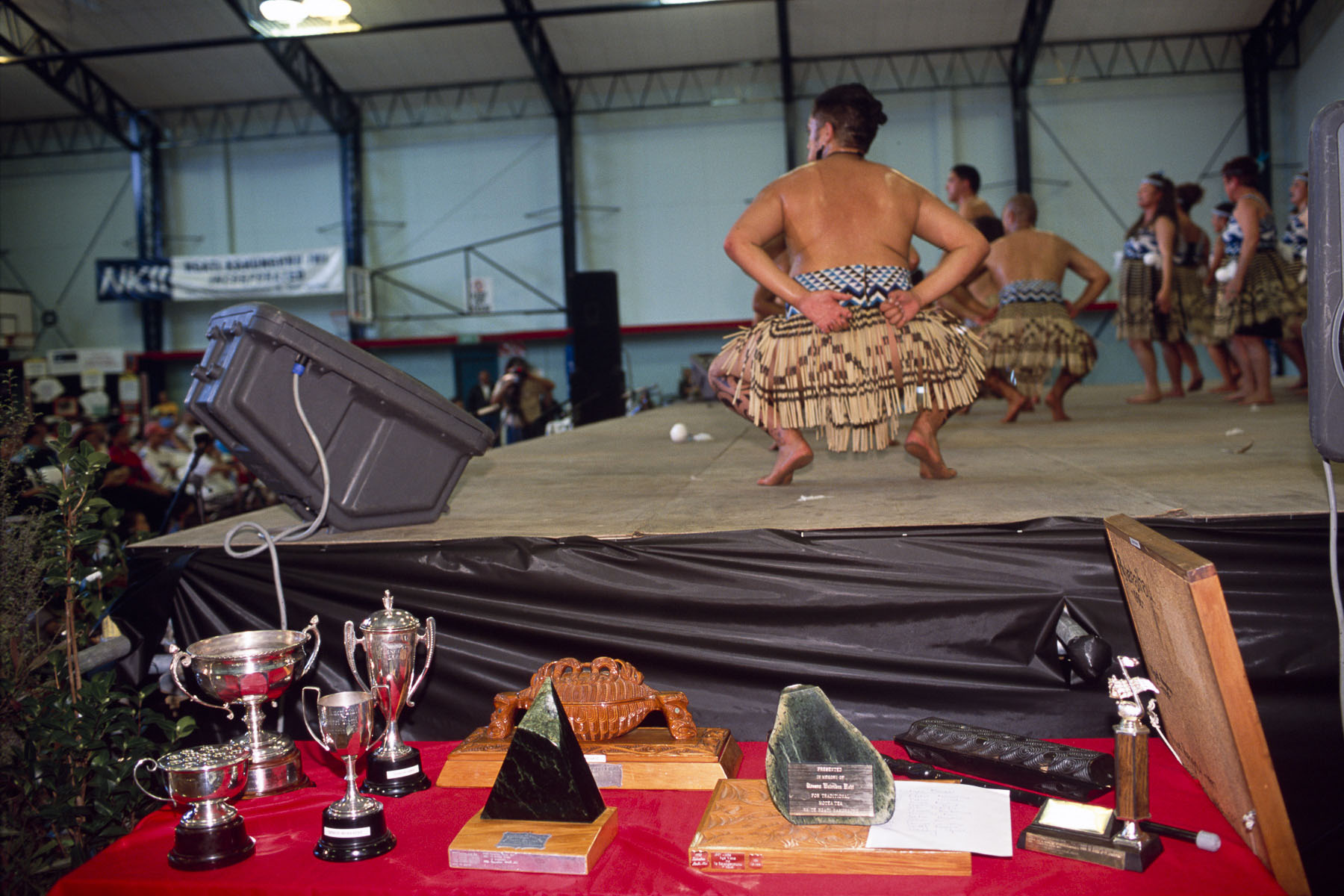 Haka performers attend the Kahungunu festival, a Maori culture folk arts festival in May 2000