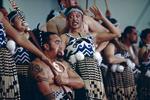 Haka performers attend the Kahungunu festival, a Maori culture folk arts festival in May 2000