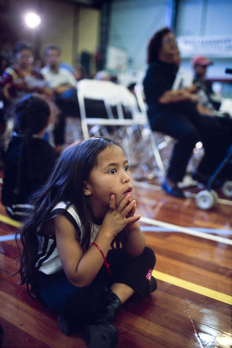 A Maori little girl attends the Kahungunu festival, a culture folk arts festival in May 2000