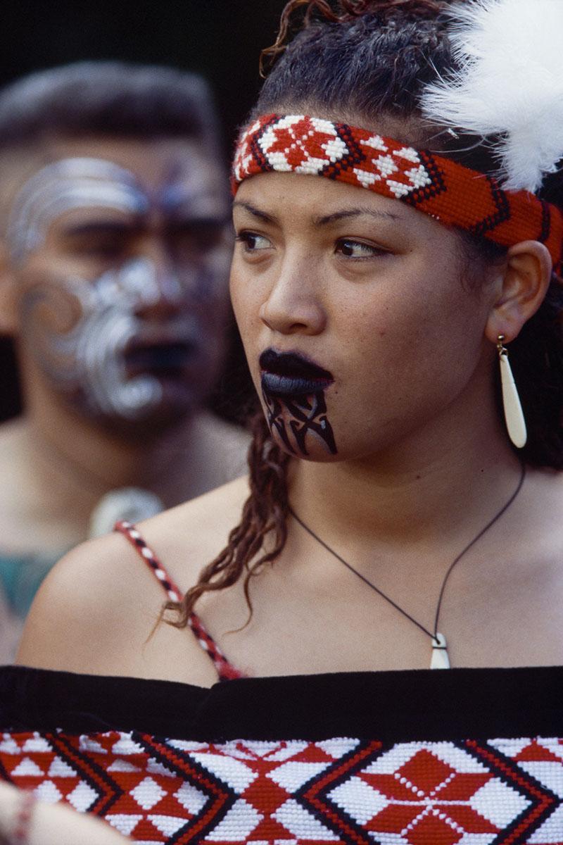 A Maori woman attends the Kahungunu festival, a culture folk arts festival in May 2000