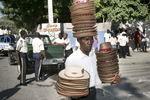 Hats seller on the Champ de Mars in November 2003