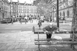 Rue de Rivoli in front of the Place Baudoyer market. March 2020