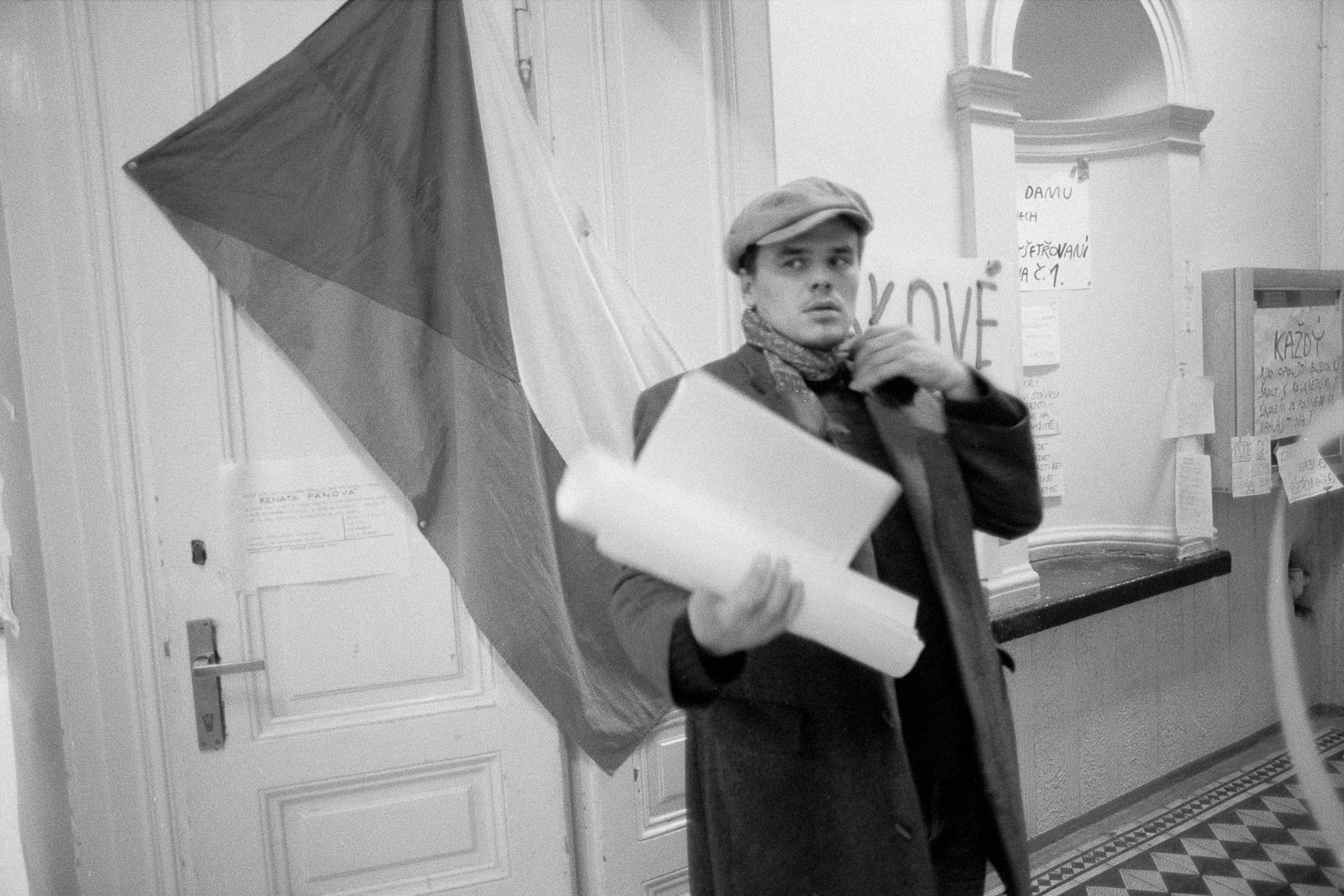 Preparation for a demonstration at the university in November 1989