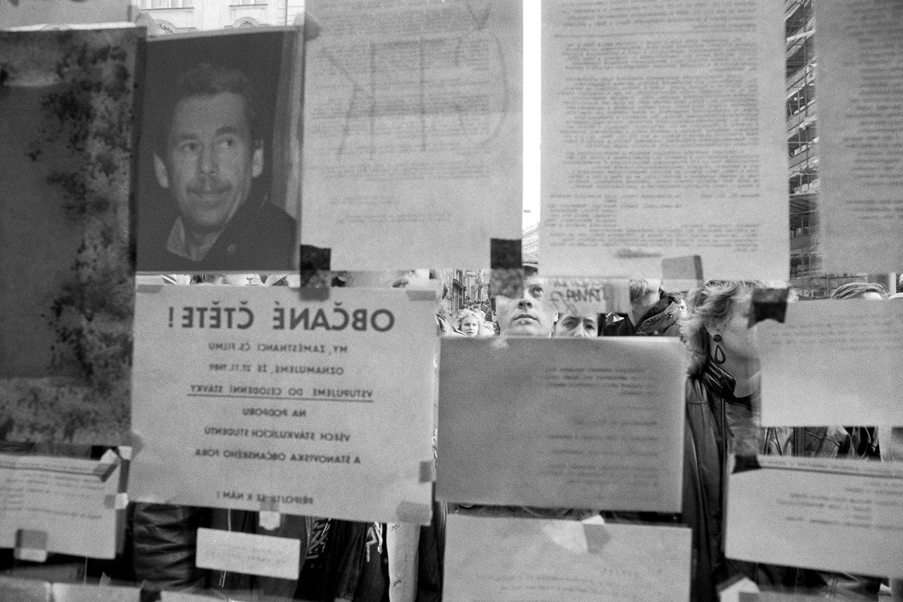 Protest slogans on the windows  of the university in November 1989