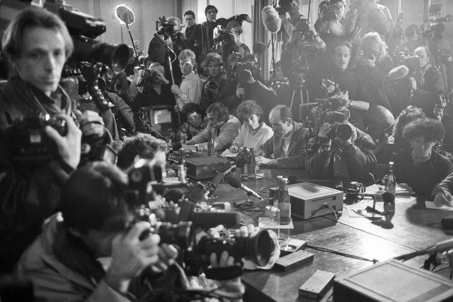 Reporters waiting for Vaclav Havel before a press conference. November 1989