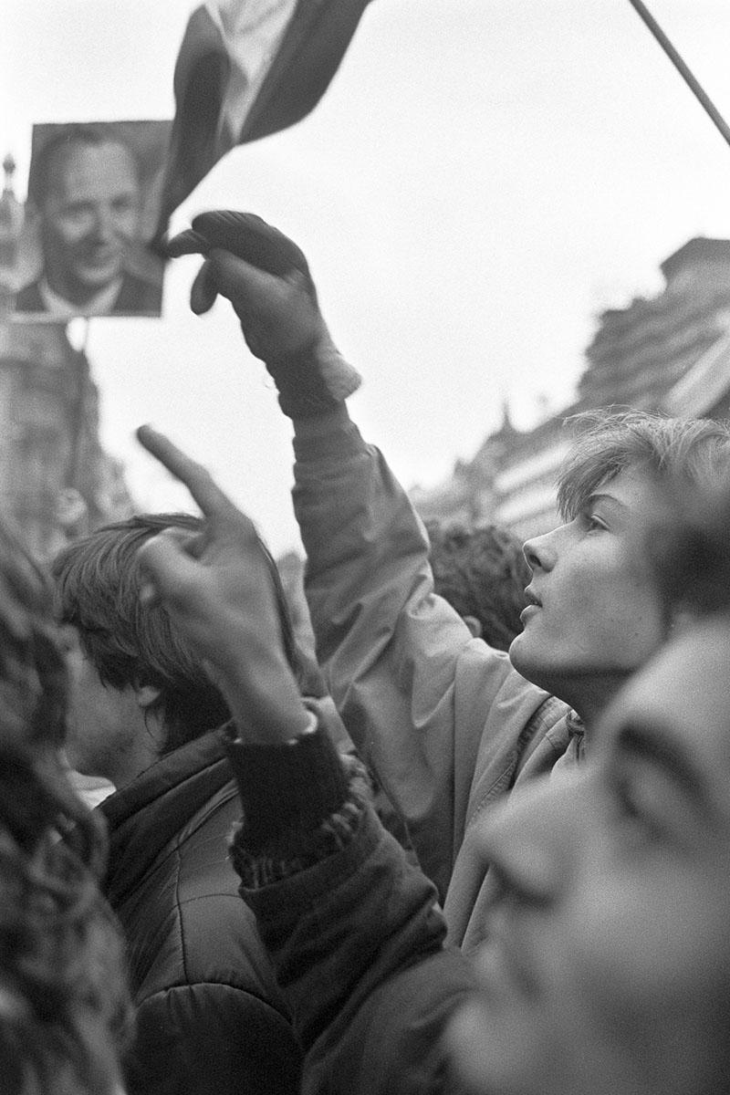Prague inhabitants join in the daily demonstration on Venceslas Square in November 1989