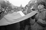 Prague inhabitants join in the daily demonstration on Venceslas Square in November 1989