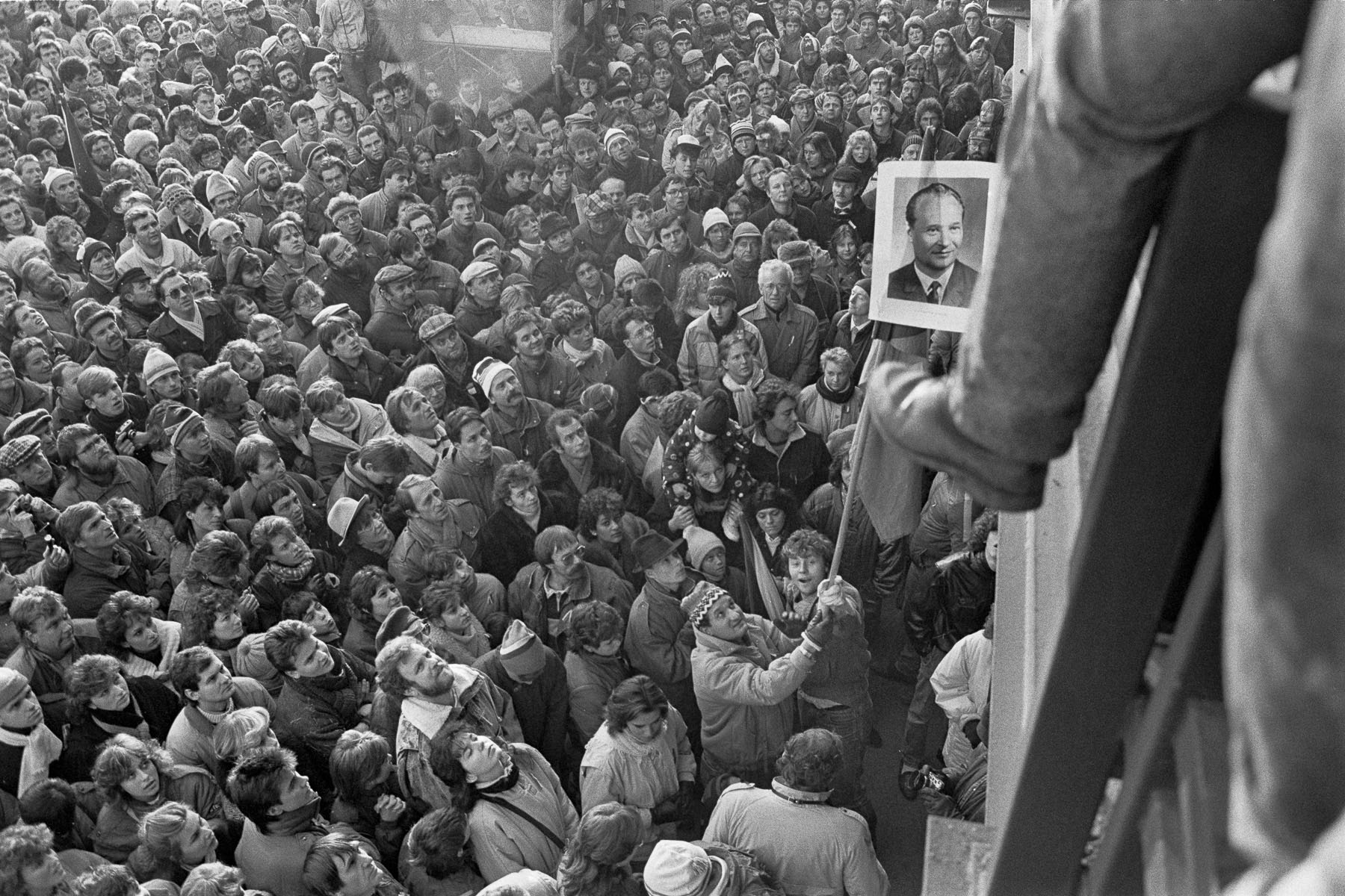 A demonstration gathers 500,000 people in protest against the communist government on Letna Plain on November 25, 1989