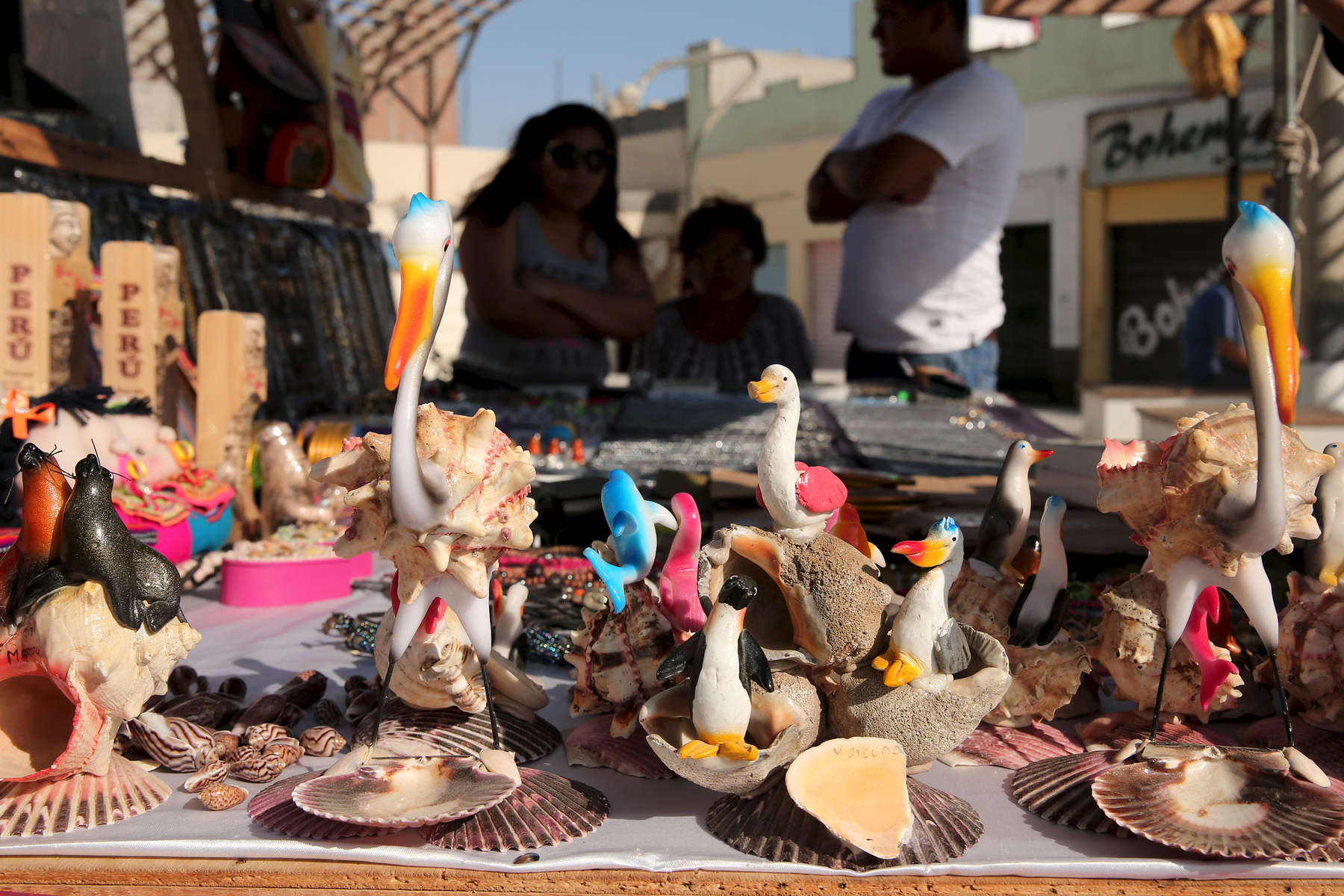 Local merchants sell souvenirs of pelicans, penguins, seals and sea lions at a small stand in San Juan de Marcona, Peru. Primiarly a mining area, Marcona has seen a recent influx of tourism, driven in large part by the Punta San Juan reserve and its wildlife.