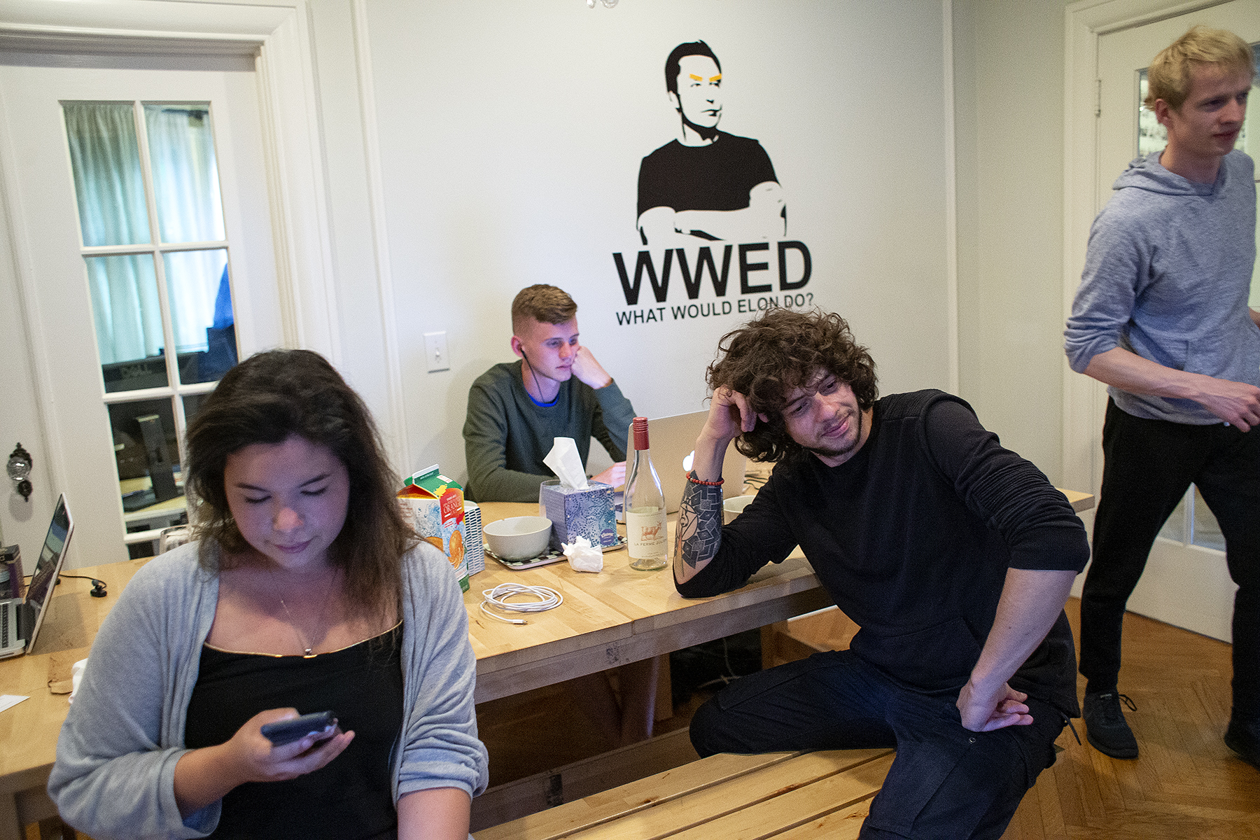 Bryce Fuller, Carol Yaginuma and Vladimir Dihovichyny (left to right)work and socialize in the dining room at Startup Embassy in Palo Alto, Calif., on Thursday, May 31, 2018. Fuller, a rising senior at University of Texas - Austin, is staying at the house for the summer while interning at the quantum computing company QC Ware. Yaginuma, from Brazil, is living in the house while doing continuing studies at Stanford in AI and programming. Karlov and Dihovichyny were living in the house while working on an app called Drop. Startup Embassy is a live and work entrepreneurial residence, sometimes referred to as a hacker house. Around 15 people are able to live in the house at one time. Guests, who are accepted after submitting an application with their entrepreneurial credentials, can stay for a few days, weeks or up to a few months at the house. CONTACTS: Bryce Fuller BGF024@gmail.com214-558-1086Carol Yaginumacarolinay@al.insper.edu.brMike KarlovMike.karlov@me.com