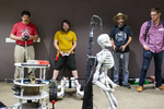 John Erikson (red shirt), Taylor Alexander (yellow shirt) and Stephen Okay (black t-shirt with hat) make their robots dance to music during the {quote}Robot Dance Party{quote} portion of the HomeBrew Robotics Club meeting, in a room donated for use by Google on their campus, during the club's monthly meeting in Mountain View, Calif., on Wednesday, June 27, 2018. The club of robot enthusiasts meets once a month. The HomeBrew Robotics Club grew out of what was the original HomeBrew Computer Club, which was very important in the history of the development of personal computing. The meeting was a special {quote}bot challenge{quote} meeting where members bring robots that can they can use to try to complete one of several challenges. The bot challenge meetings serve to encourage members to work on robots. CONTACTS: John Erikson (red shirt) surf_er_man@yahoo.comTaylor Alexander (yellow shirt)18840 Los Gatos Rd. Los Gatos, CAStephen Okay (black t-shirt)584 Castro Street #304San Francisco, CA 94114