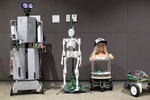 Robots are seen lining the wall during a meeting of the HomeBrew Robotics Club, in a room donated for use by Google on their campus, during the club's monthly meeting in Mountain View, Calif., on Wednesday, June 27, 2018. During this phase of the challenge the robot had to go from one end of the table to the other and back. The club of robot enthusiasts meets once a month. The HomeBrew Robotics Club grew out of what was the original HomeBrew Computer Club, which was very important in the history of the development of personal computing. The meeting was a special {quote}bot challenge{quote} meeting where members bring robots that can they can use to try to complete one of several challenges. The bot challenge meetings serve to encourage members to work on robots. CONTACTS: Osman Eralp (club president) osmaneralp@gmail.com