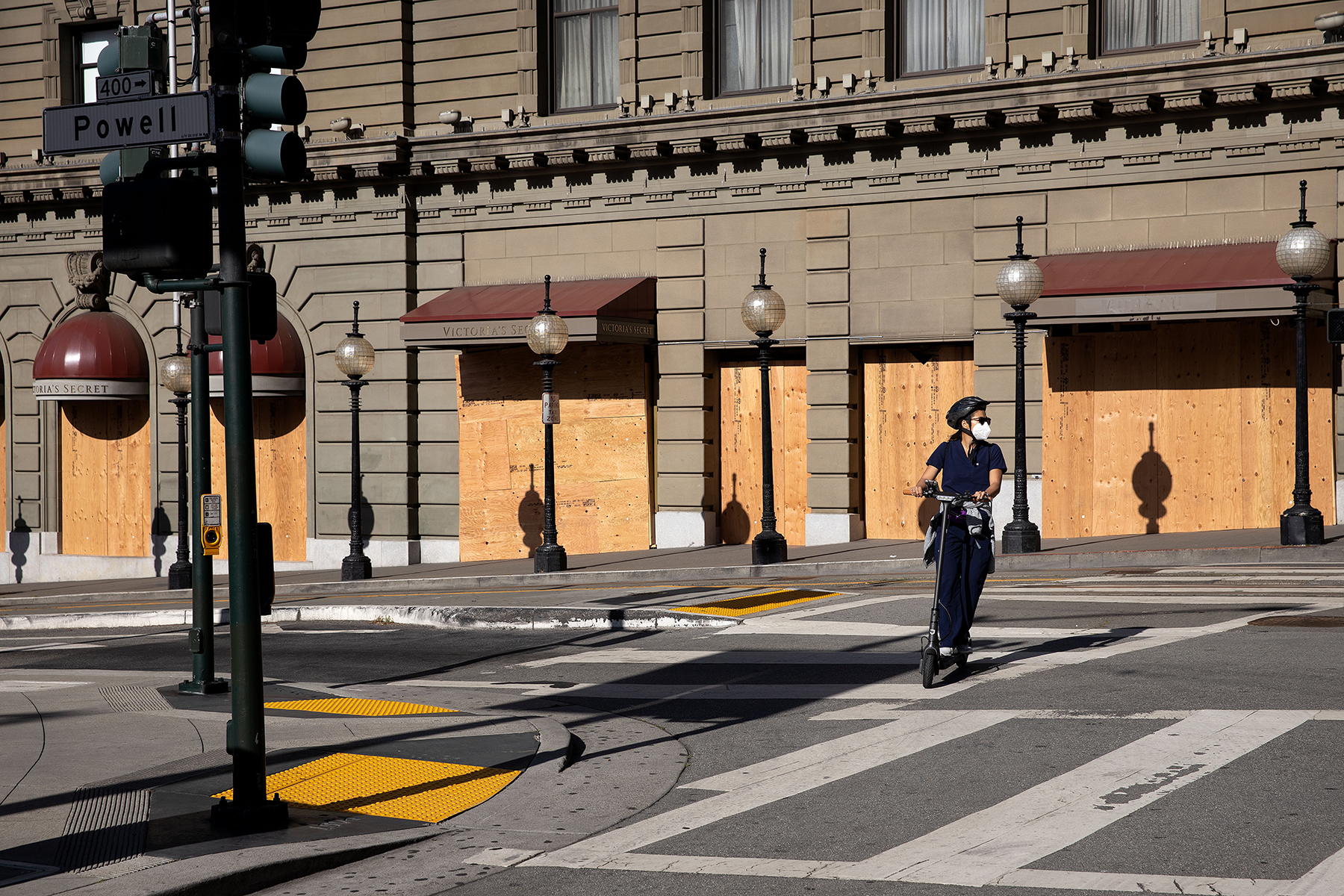Corner of Powell and Post in Union Square in San Francisco, Calif., on Thursday, June 4, 2020. Stores were boarded up due to a combination of the COVID-19 pandemic and looting in connection with the protests of George Floyd's death. Union Square and its stores were decimated by looters on Saturday night and vehicle access to the area was blocked off for several blocks around the square.