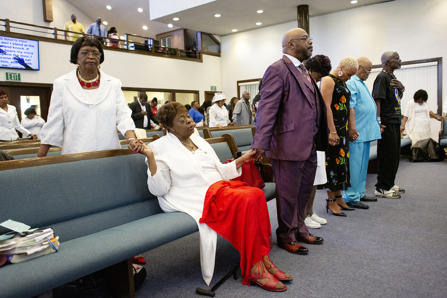 Congregants participate in Sunday service at St. John Missionary Baptist Church in East Palo Alto, Calif., on April 14, 2019. The church has been a pillar of the African American community in East Palo Alto for decades.