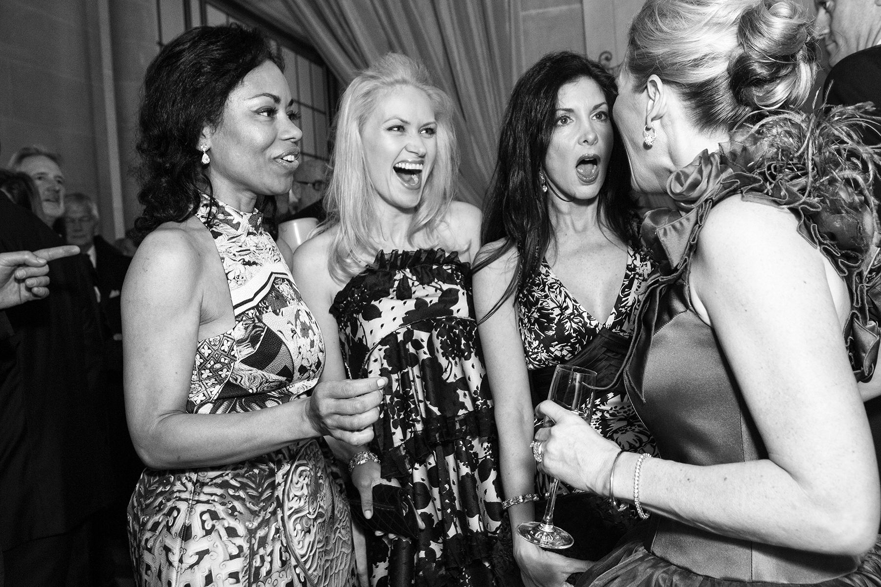 Tanya Powell, Marie Ralph, Aimee West and Marie Hurabiell (left to right) chat with one another during the cocktail hour while attending the San Francisco Ballet Opening Night Gala at City Hall in San Francisco, Calif., on Thursday, January 19, 2012. Many patrons participate in numerous social events with one another throughout the year and some become close friends.This photograph is of a candid moment and was not directed in any way.