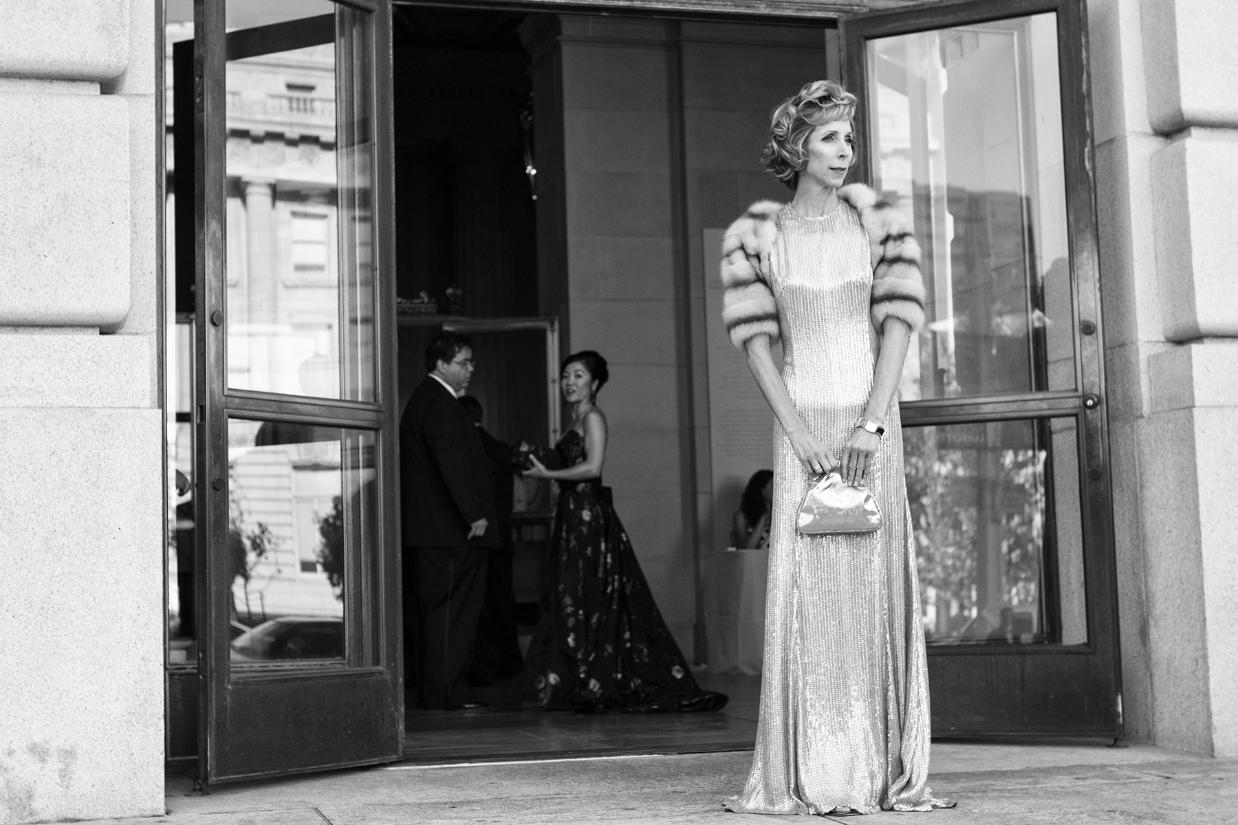 Nancy Kukacka stands outside the opera house before entering the San Francisco Opera Ball in San Francisco, Calif., on Friday, September 9, 2011. This photograph is of a candid moment and was not directed in any way.