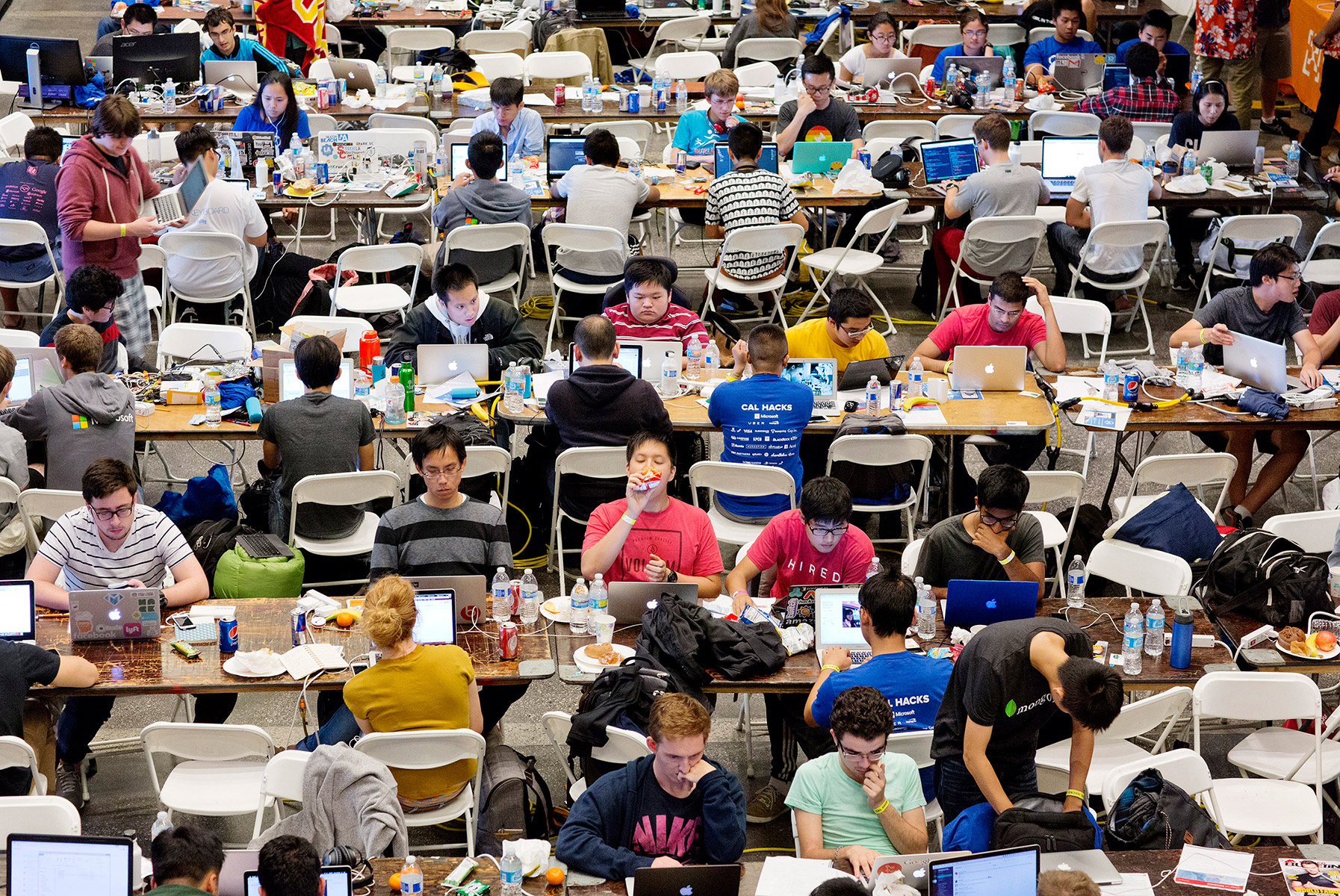 Participants in Cal Hacks 2.0, a 36-hour hackathon, work on projects inside the football stadium at the University of California, Berkeley in Berkeley, California, in October 2015. According to the event organizers, 2,071 participants attended from 143 schools and 10 countries. Hackathons are events usually lasting a few days in which computer programmers and others involved in software and hardware development collaborate on a project over a set period of time, often while competing for awards and prizes. They're an important part of the technology industry ecosystem.
